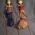 Anciennes Marionnettes Bali Théâtre Indonésien Indonesie