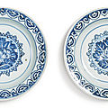 Two blue and white 'floral' dishes, Ming dynasty, Tianqi period (<b>1621</b>-1627)