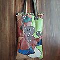 petit sac cabas cuir et skaï <b>multicolore</b>