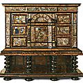 A tortoiseshell, ebony, ebonised and ivory cabinet applied with paintings on glass, neapolitan or spanish, mid 17th century