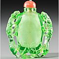 A Fine Chinese Emerald Green Glass Snuff Bottle with Chilong Motif, Attributed to Imperial Glassworks, Qing Dynasty, 18th century