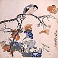 Ren Bonian (Chinese, 1840-1896), Bird on Maple Branch with Morning Glories, 1860-1880.