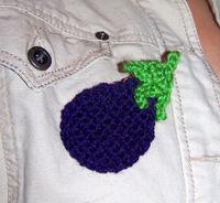 Broche en crochet - Aubergine