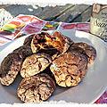 Cookies craquelés chocolat fève tonka coeur caramel