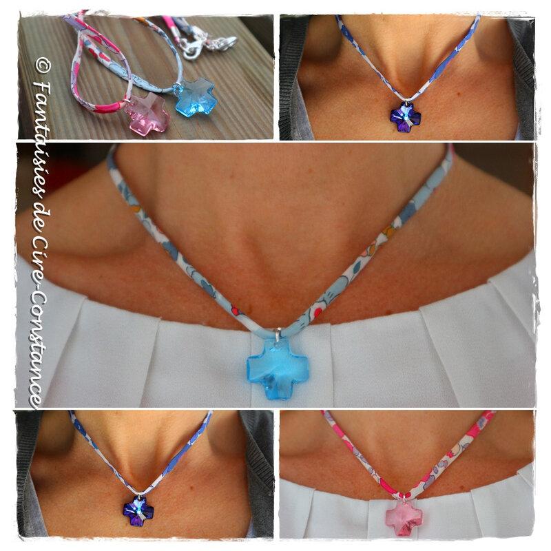 Colliers Croix cristal Swarovski ensemble