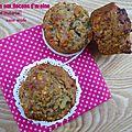 Muffins sans oeufs, à la rhubarbe, confiture de groseilles/melon et lait ribot