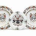 Three chinese export armorial dishes, circa 1720 and 1740