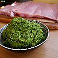 Rôti de porc farci au pesto d'épinards et pistache