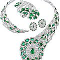 Narayan Jewellers, Baroda. <b>Zambian</b> <b>emerald</b> and diamond necklace and earrings & cuff set