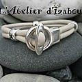 Cuir rond blanc et passants étoiles pour ce <b>bracelet</b> fermoir toggle fantaisie et <b>féminin</b> ! A porter tout de suite !