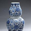 Vase double-gourde dit en forme de calebasse en porcelaine.. chine, xixe siècle