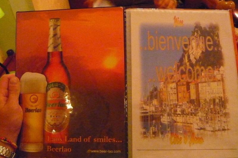 A gauche, une Lao Beer, a droite, le prt de Nissa