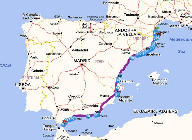 Itinéraire Le Barcarès / Algeciras   Roissy CDG / Casablanca
