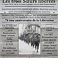 31 AOÛT 1 ET 2 <b>SEPTEMBRE</b> 2018 74 EME ANNIVERSAIRE DE LA LIBERATION DES TROIS VILLES SOEURS
