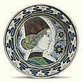 Italian, Tuscany or <b>Umbria</b>, circa 1450-1470, Dish painted with a contour portrait of a young man