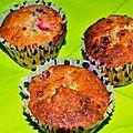 Muffins framboise, chocolat blanc et menthe verte