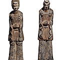 A large and rare pair of painted gray pottery figures, <b>Northern</b> <b>Wei</b> <b>dynasty</b> (<b>386</b>-<b>534</b>)