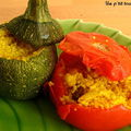 Petits légumes d'été farcis à la semoule épicée