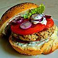 Burger de poulet aux herbes, tomates et sauce au yaourt 100% Home made