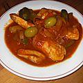 Escalopes de veau a la tomate, aux olives et aux anchois
