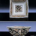 A very rare Ming <b>polychrome</b>-<b>enamelled</b> square 'Dragon' bowl, Jiajing six-character mark and of the period (1522-1566)