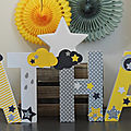 Lettres décorées prénom <b>thème</b> étoile et <b>nuage</b>