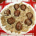 Riz aux boulettes de boeuf cumin, coriandre