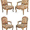 Suite de quatre <b>fauteuils</b> <b>à</b> la <b>reine</b>. Estampillés MEUNIER, pour Etienne (?) Meunier, actif vers 1750-1760. Époque Louis XV