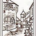Illustration pour séjour en Corrèze revue Joie de vivre Berratenco - les plus beaux villages de France - Coloriage village