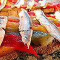 Tartine poivrons grillés-anchois