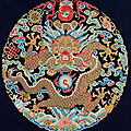 A fine and rare imperialkesidragon roundel from an emperor's <b>surcoat</b>, Qianlong period (1736-1795)