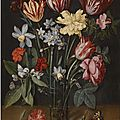 Jacob van hulsdonck (antwerp 1582 - 1647), a still life with tulips, daffodils, carnations and other flowers in a vase
