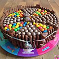 Gateau damier aux gourmandises chocolatees