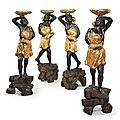 A Matched Set of North Italian Polychrome-Painted And Parcel-Gilt Figural <b>Torcheres</b>. Venice, circa 1740