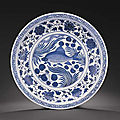 A magnificent Yuan <b>blue</b> and white 'fish' charger, Yuan dynasty (1279-1368)