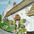 Huile sur toile 55 x 46cm, une B&B, Branscombe Cottage, Devon.