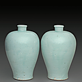 A pair ofqingbaivases,meiping, Yuan dynasty (1279-1368)
