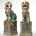 A large pair of susancai figures of <b>buddhist</b> lions, Qing dynasty, Kangxi period (1662-1722)