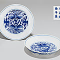 Two blue and white dishes, Guangxu six-character marks in underglaze blue and of the period (<b>1875</b>-1908)