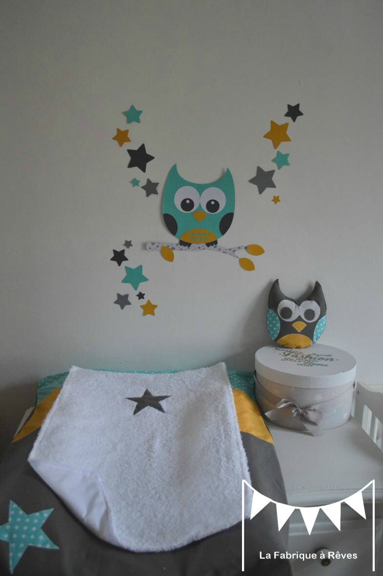 d coration chambre enfant mixte turquoise jaune moutarde gris hibou toiles stickers housse. Black Bedroom Furniture Sets. Home Design Ideas