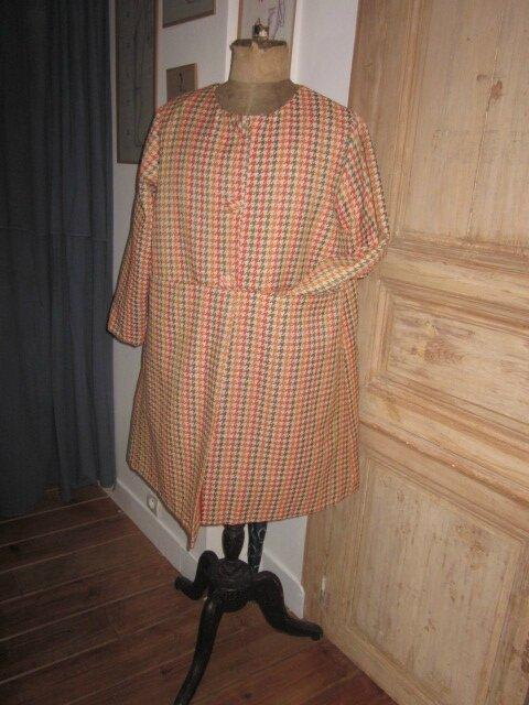 Manteau/Veste GISELE en toile polyester pied de poule orange et kaki