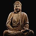 An extremely rare large polychrome wood figure ofShakyamuni Buddha, <b>Jin</b> dynasty (1115-1234)