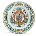A Portuguese market armorial saucer dish, circa 1720