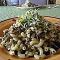 Le printemps arrive! pâtes aux champignons, sésame et germinations!