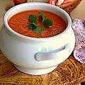 Potage de tomates à la coriandre fraîche
