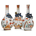 Three Dutch-decorated <b>Kakiemon</b>-<b>style</b> bottle vases, Qing dynasty, Kangxi period (1662-1722)
