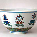 A doucai 'bajixiang' bowl, Wanli mark and period; image courtesy of the Palace Museum, Beijing