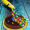 Gravity cake aux m&m's