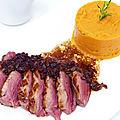 <b>Magret</b> de canard, purée de patate douce et jus à l'échalote et à la moutarde violette de Brive
