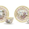 A pair of meissen teabowls and saucers of 'half-figure service' type, circa 1723-25